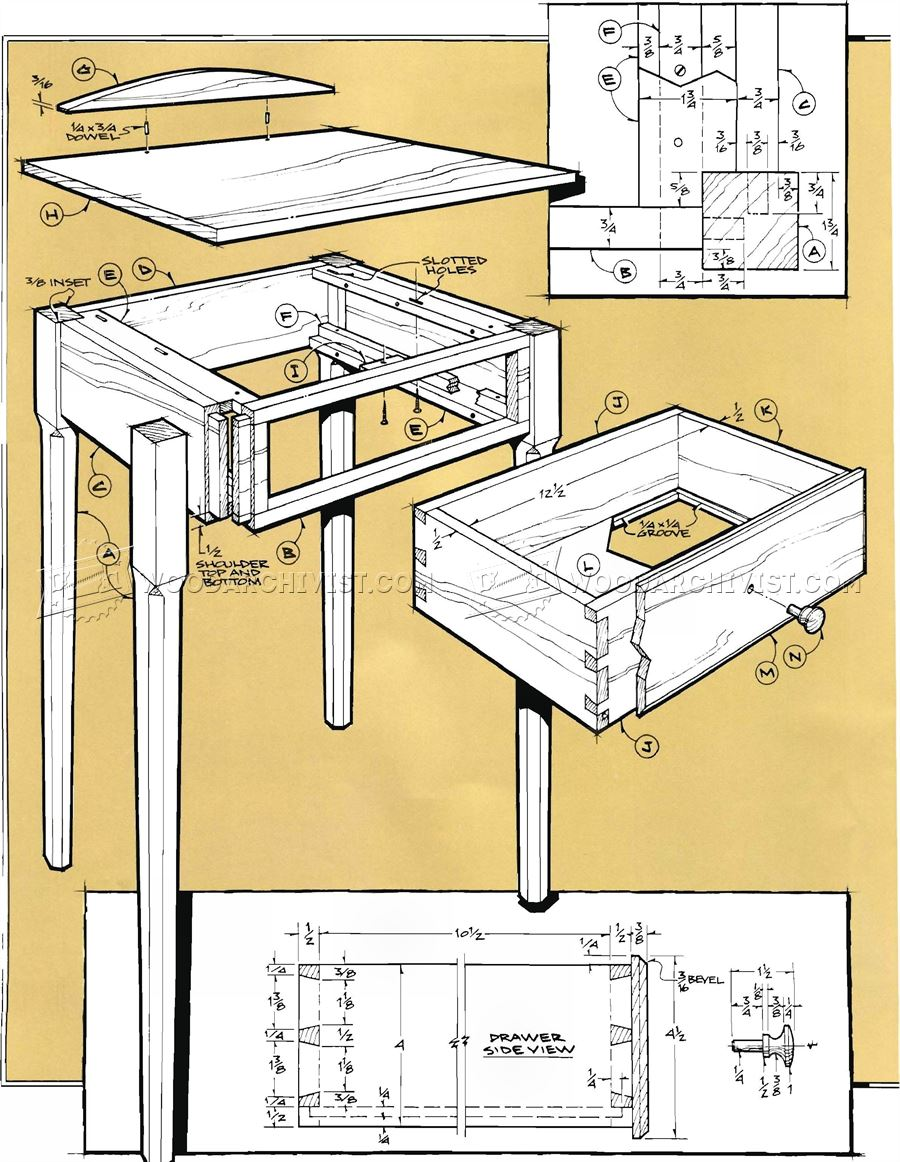 Pencil post nightstand plans woodarchivist for Nightstand plans