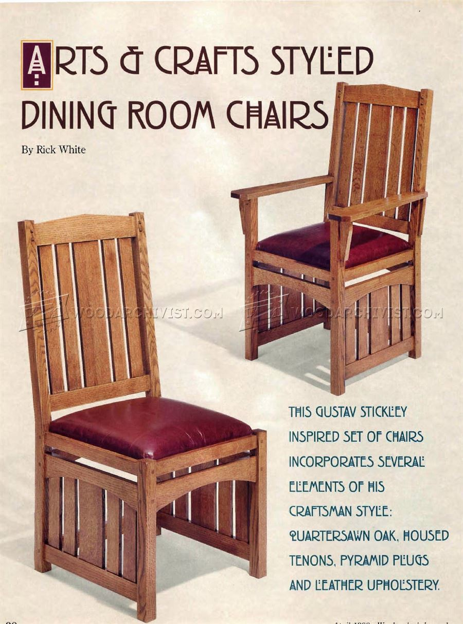 Arts and crafts furniture plans - Dining Room Chairs Plans