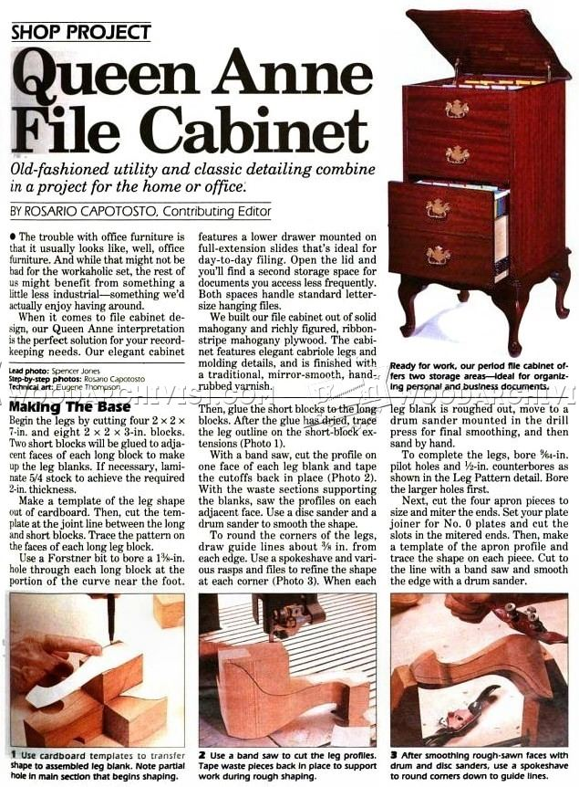 Queen Anne File Cabinet Plans • WoodArchivist