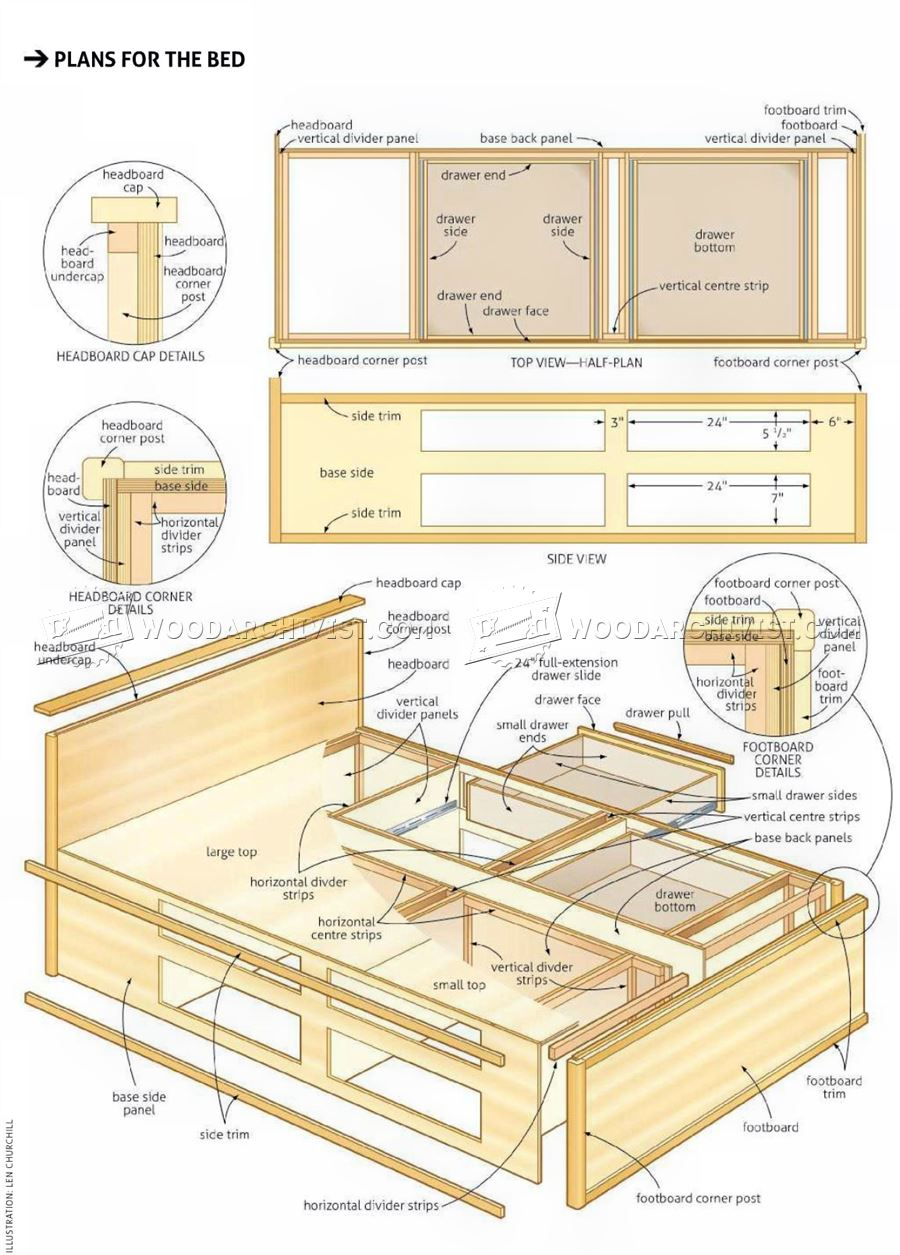 Bed end Nightstand Plans