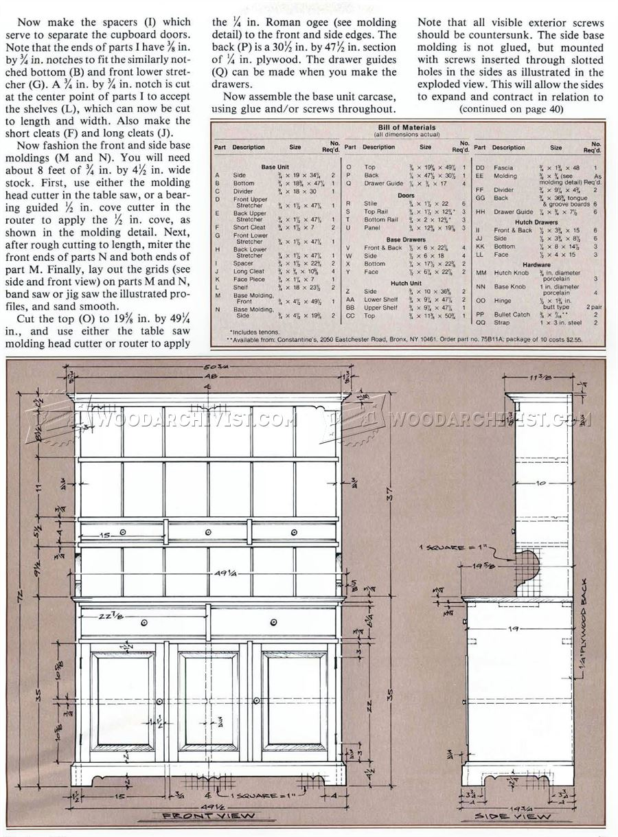 1322 Pine Cupboard Plans - Furniture Plans and Projects