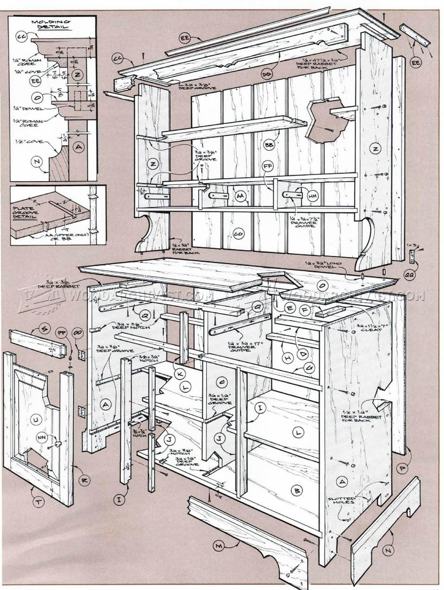 Blueprints For A Modern Four Bedroom Home: Pine Cupboard Plans • WoodArchivist