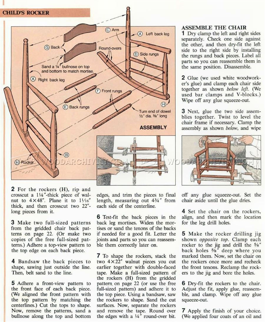1324 Childs Rocking Chair Plans - Childrens Furniture Plans