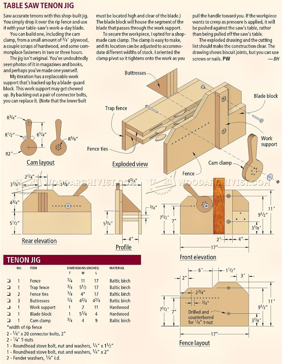 Table Saw Tenon Jig Plans Woodarchivist