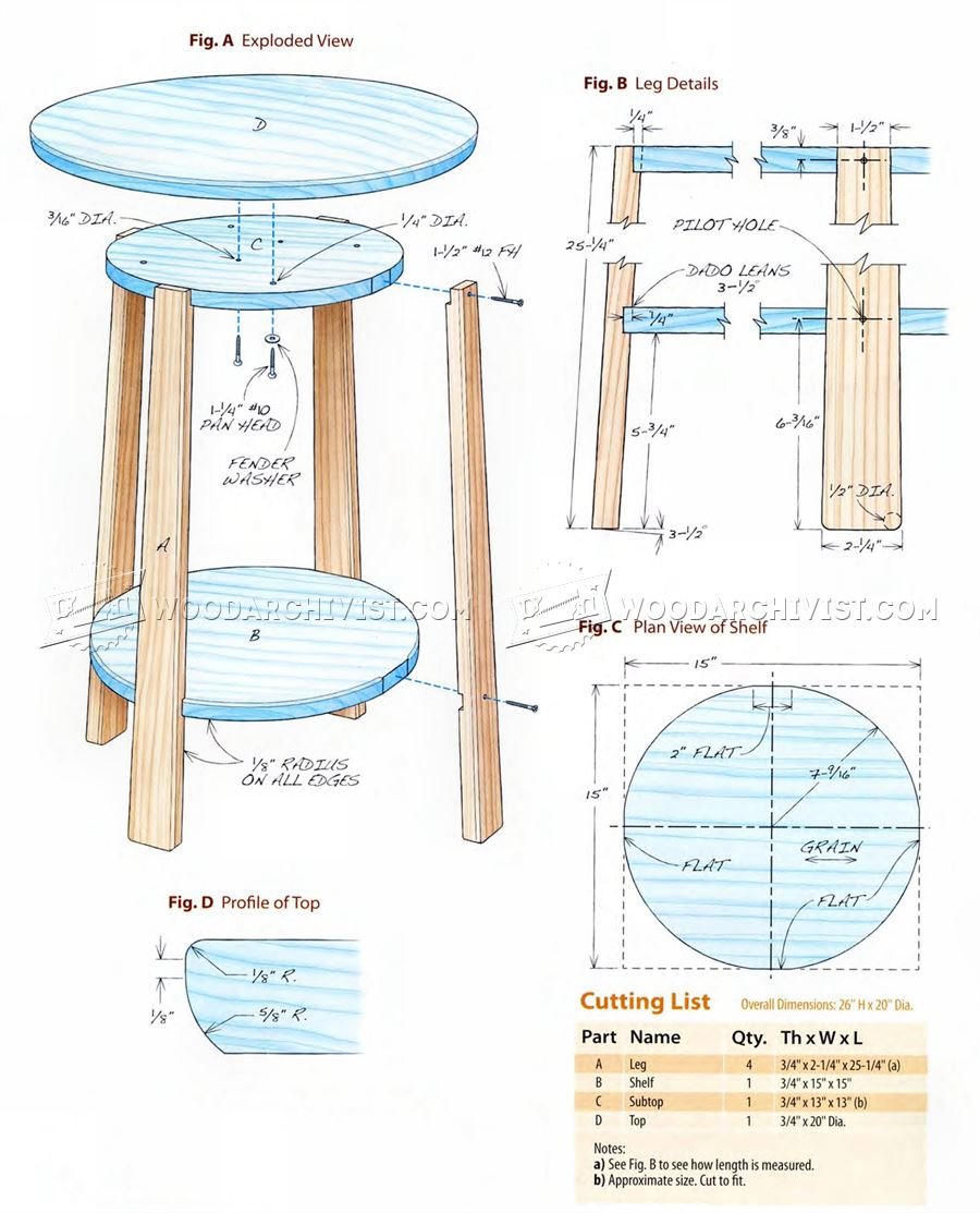 Side table plans woodarchivist for Side table plans
