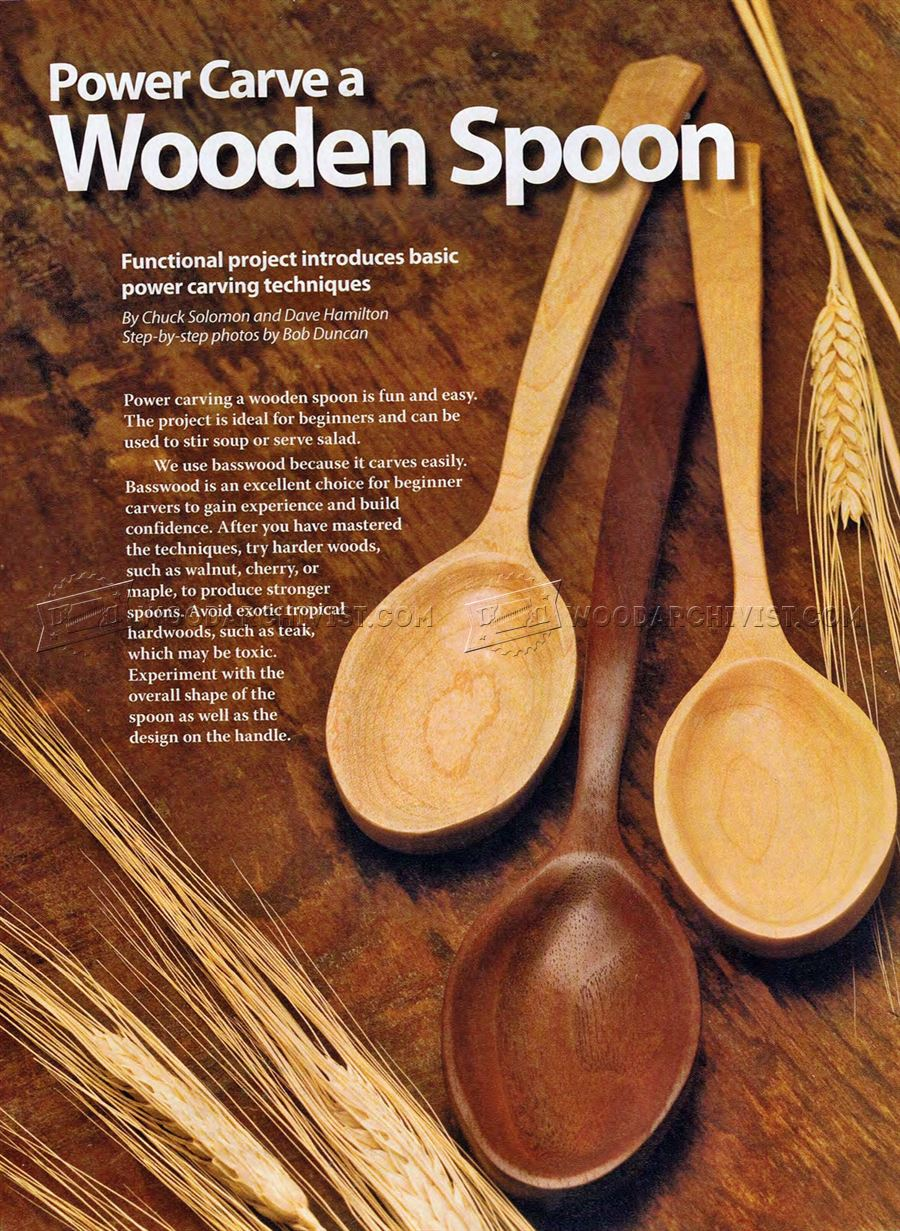Power carving wooden spoon woodarchivist