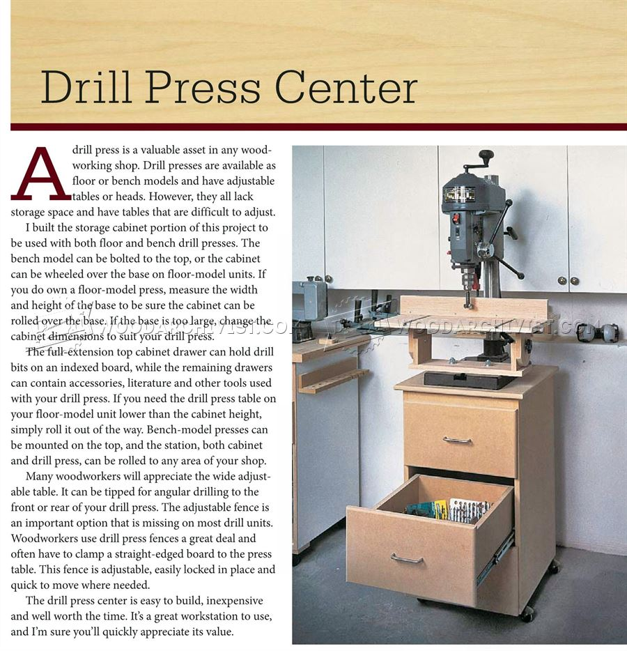 Drill Press Center Plans