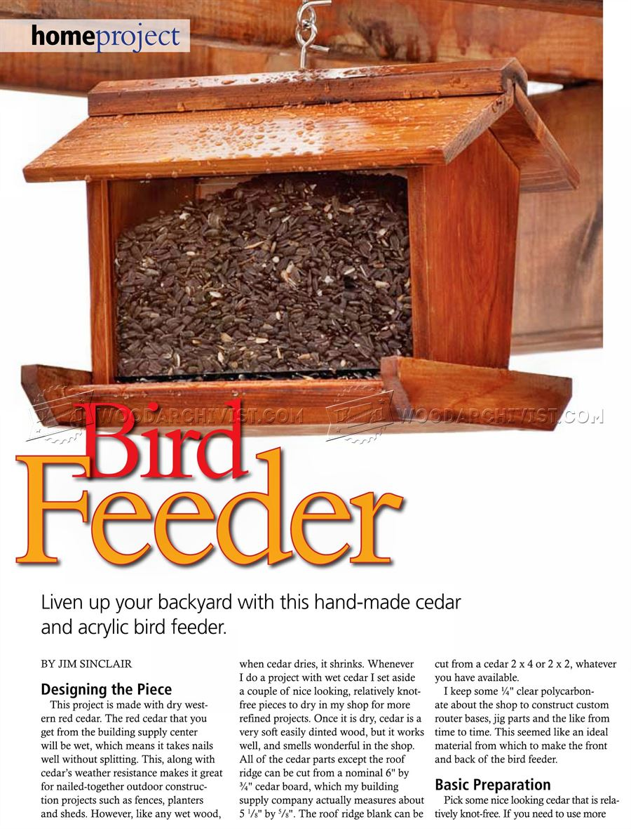 Bird Feeder Plans Woodarchivist