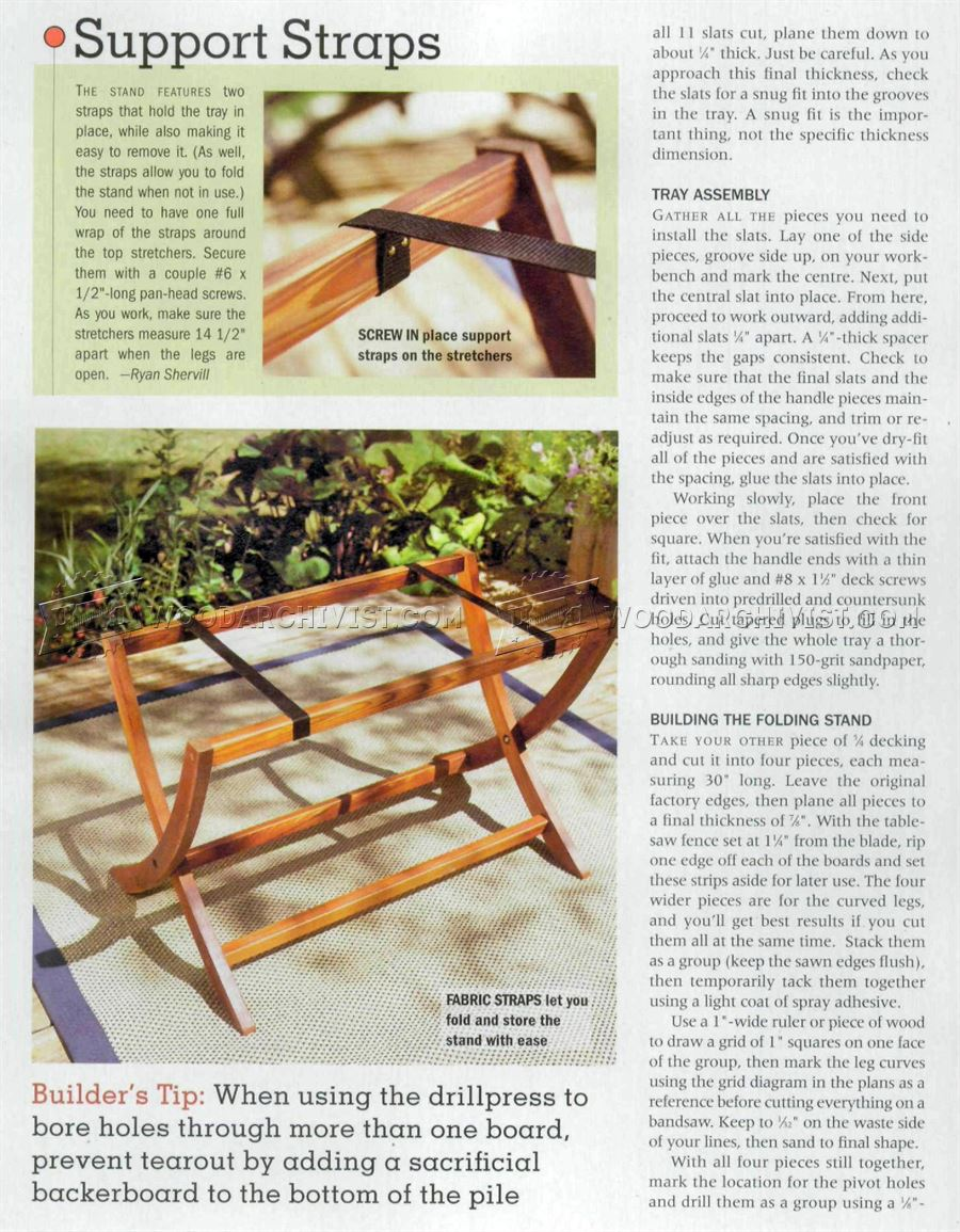 Folding Serving Tray Table Plans