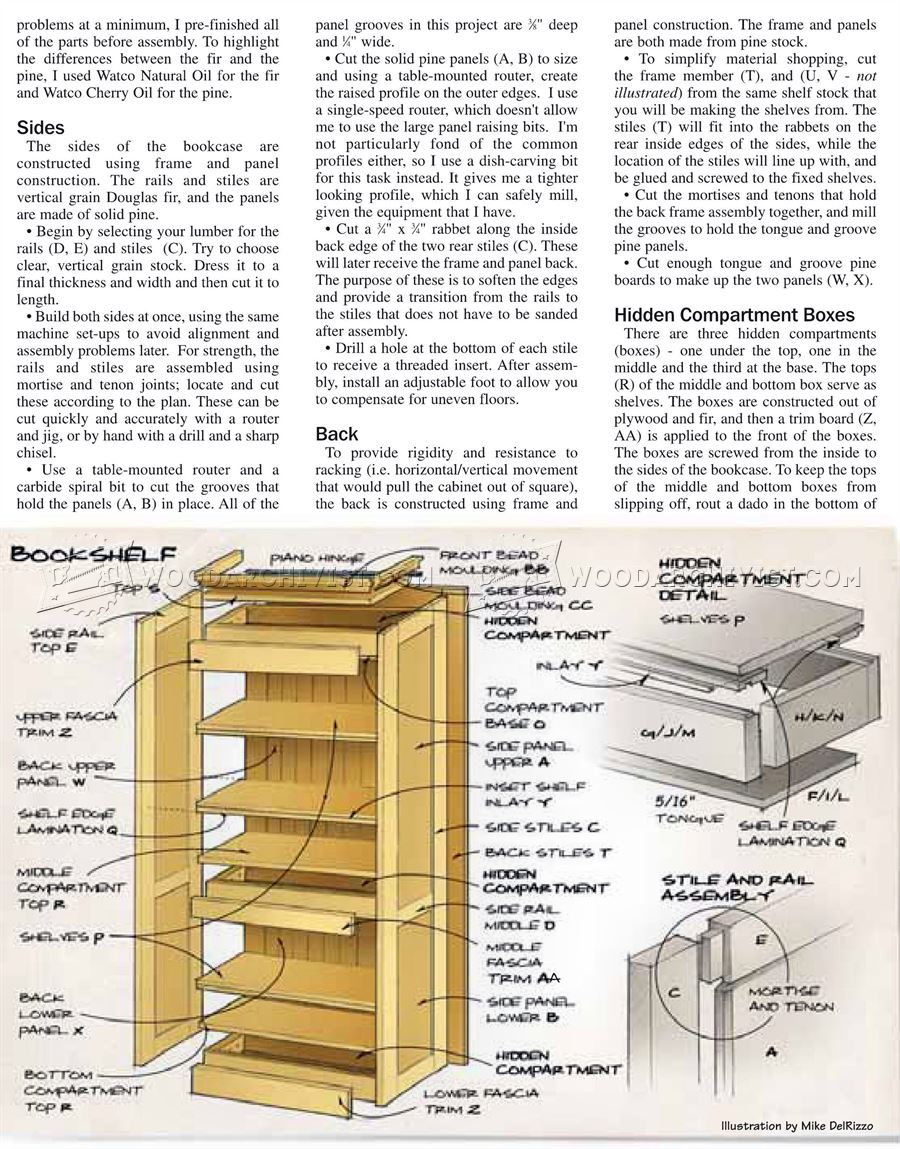 Hidden compartment bookshelf plans woodarchivist for Furniture w hidden compartments