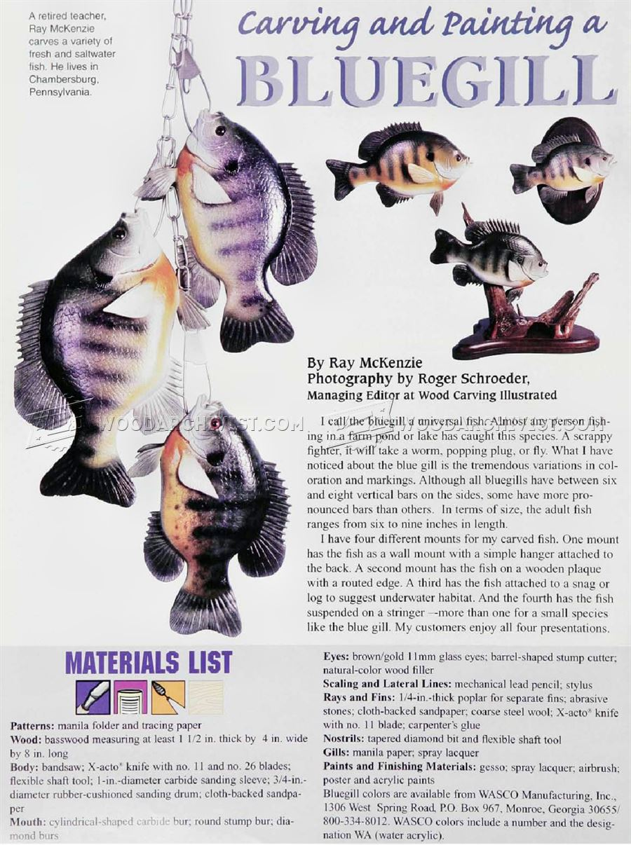 Bluegill Carving - Wood Carving Patterns