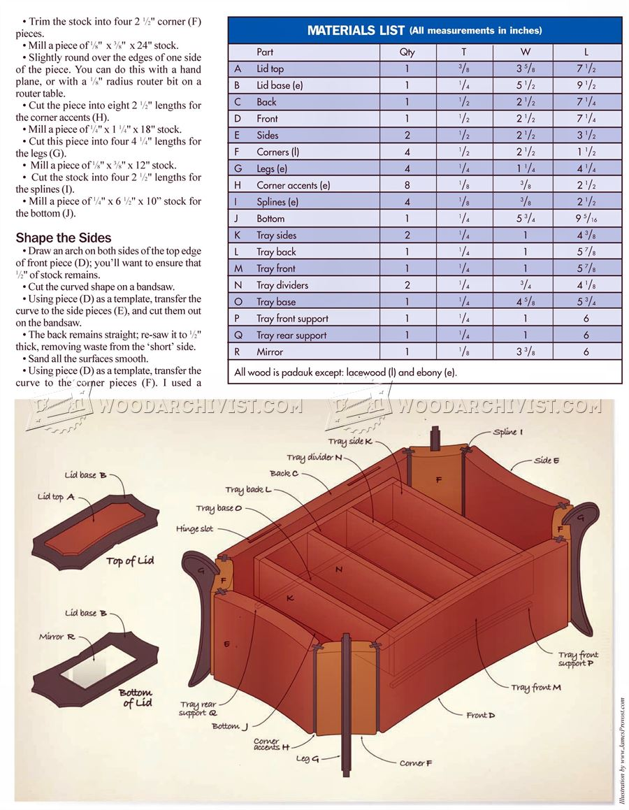 Inlaid Jewellery Box Plans