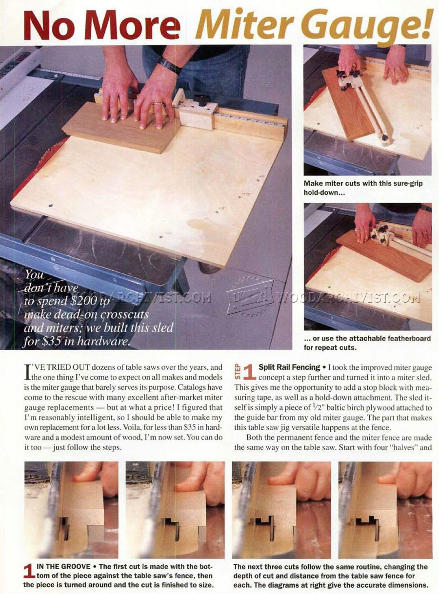 Table Saw Miter Sled Plans