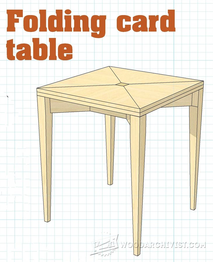 1501 folding card table plans woodarchivist for Folding table woodworking plans