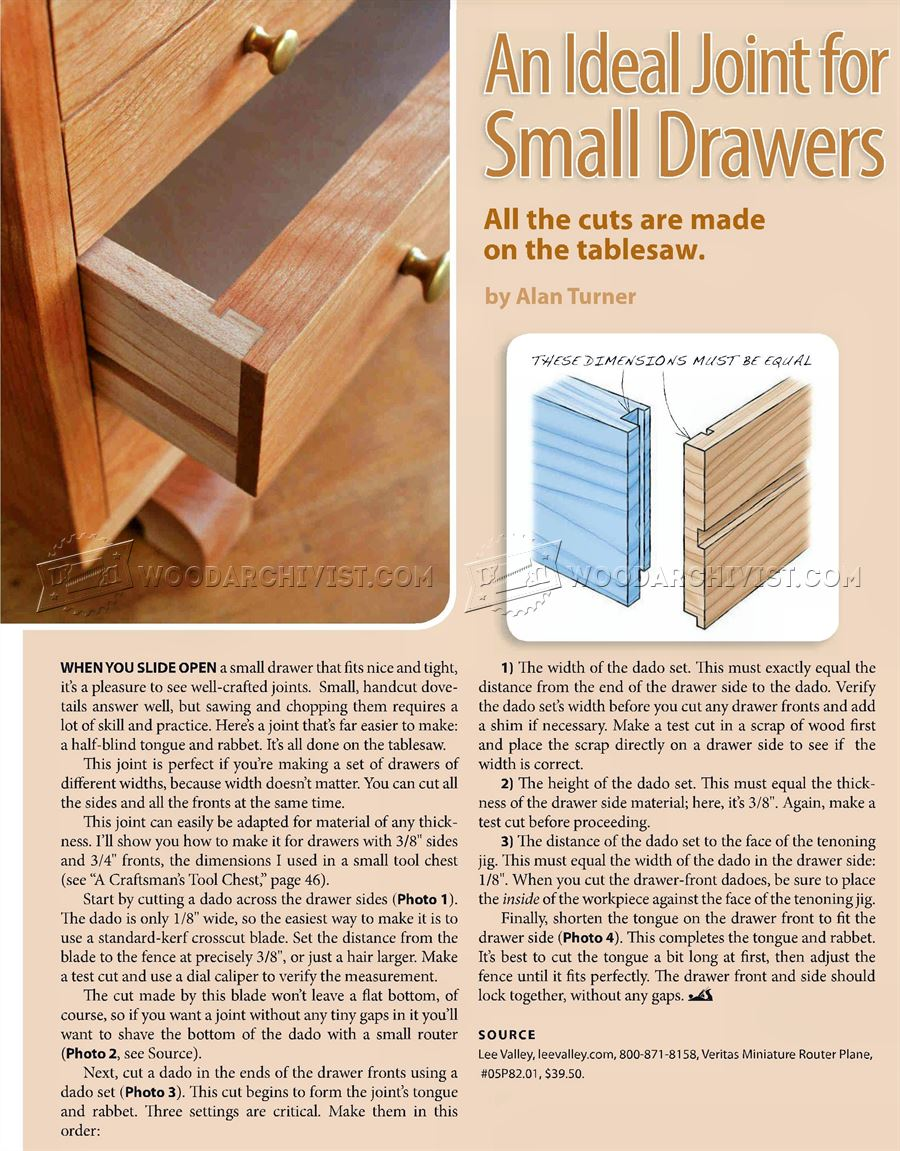 Drawer Joints • WoodArchivist