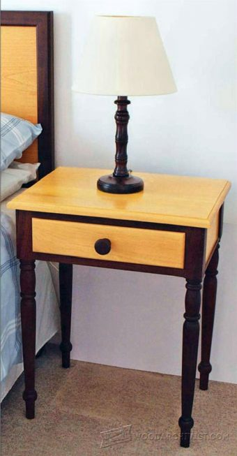 Traditional oak night stand plans woodarchivist for Nightstand plans