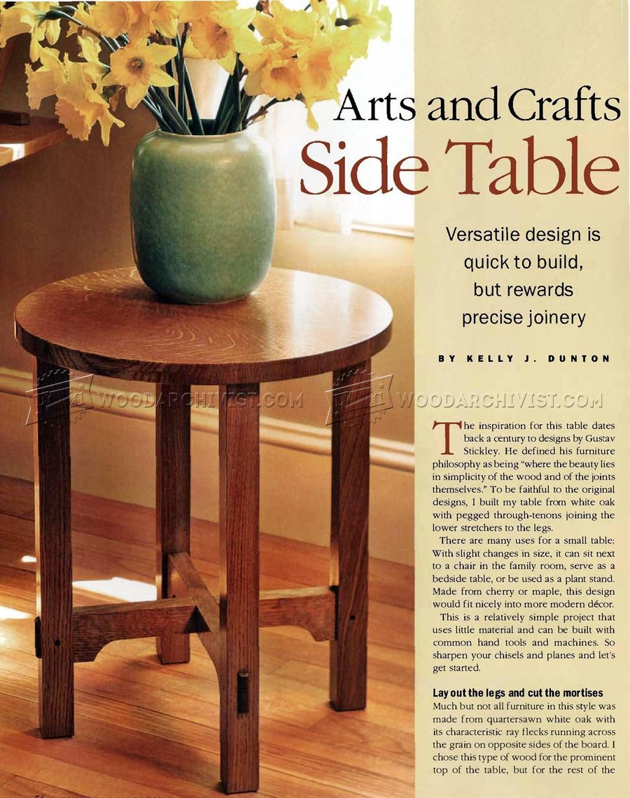 Art And Crafts Side Table Plans ...