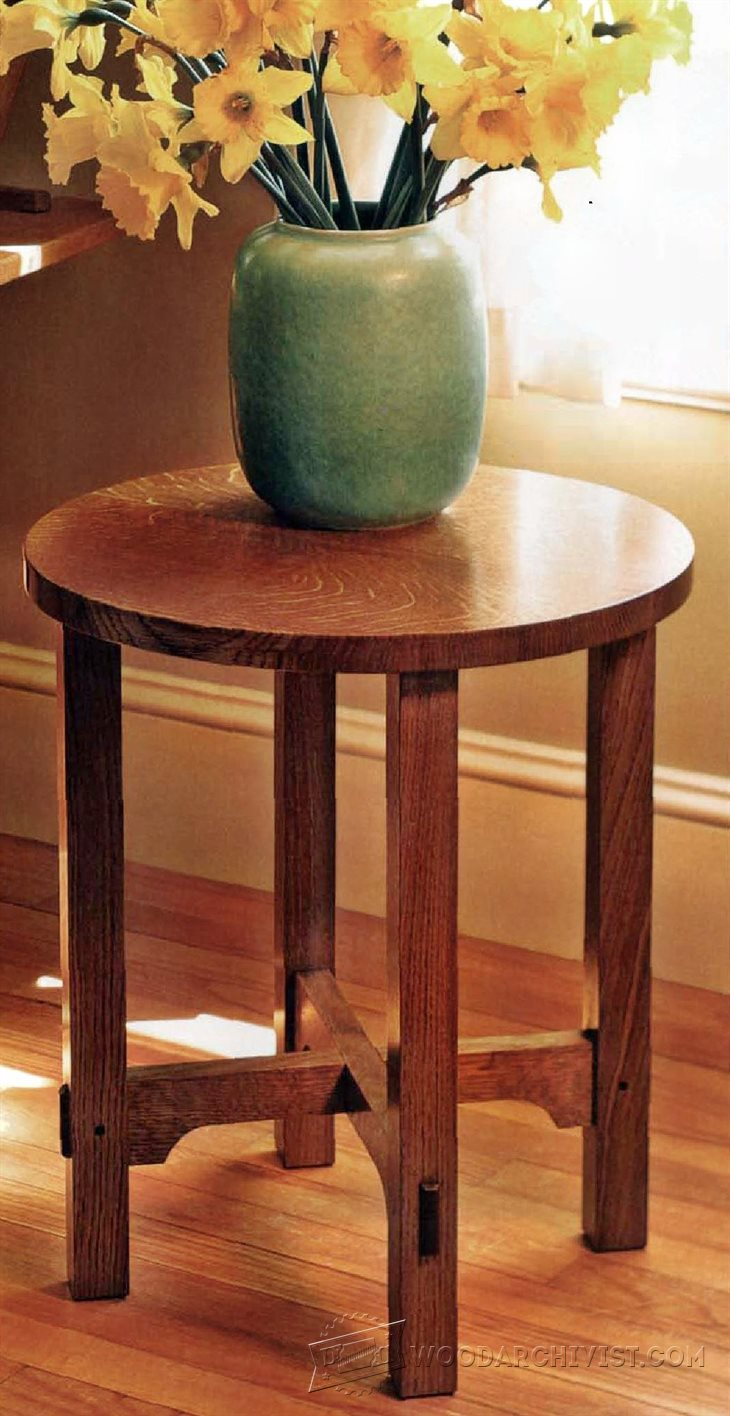 1507 art and crafts side table plans woodarchivist for Arts and crafts side table
