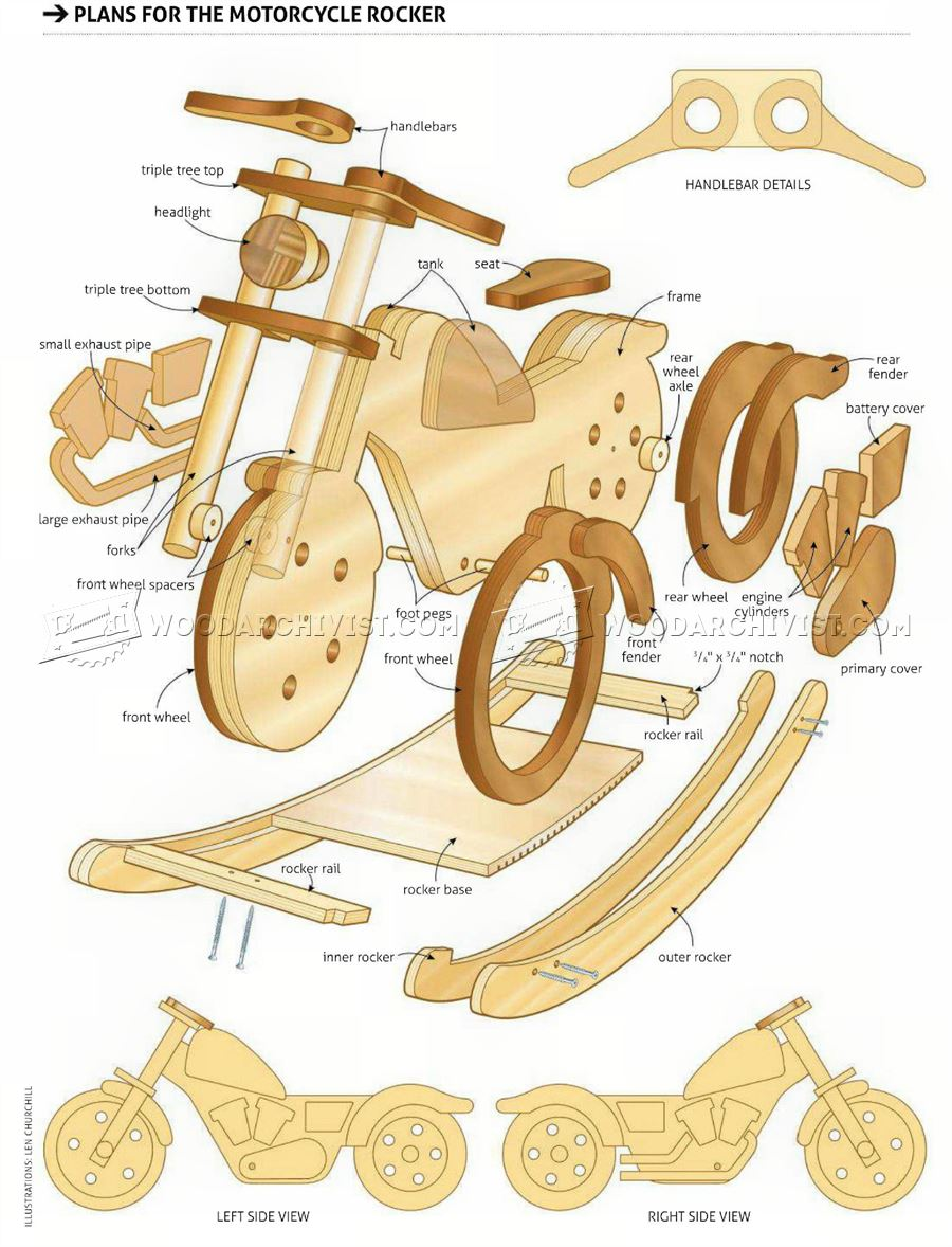 Rocking motorcycle plans woodarchivist for Woodworking plan for motorcycle rocker toy