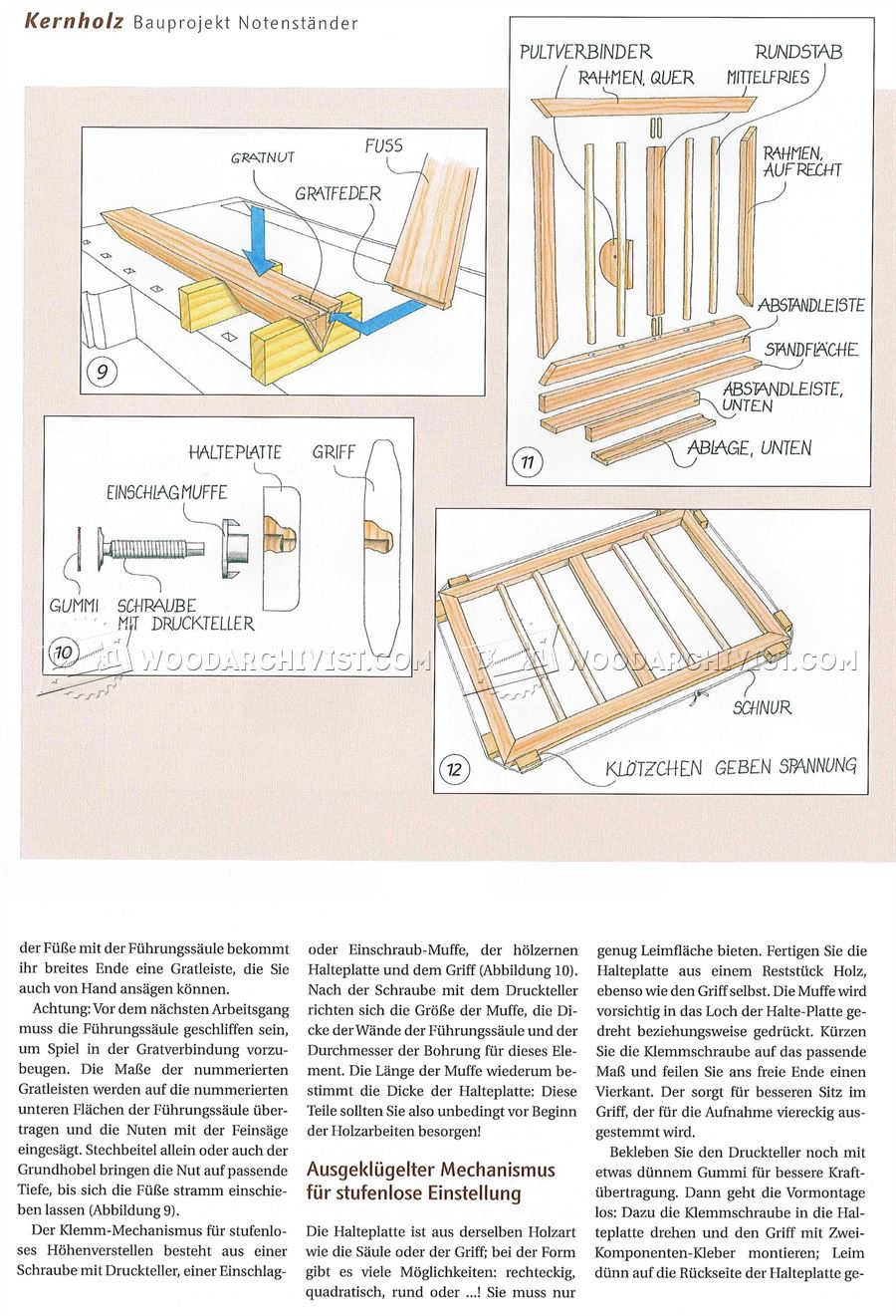 Wooden Music Stand Plans Woodarchivist