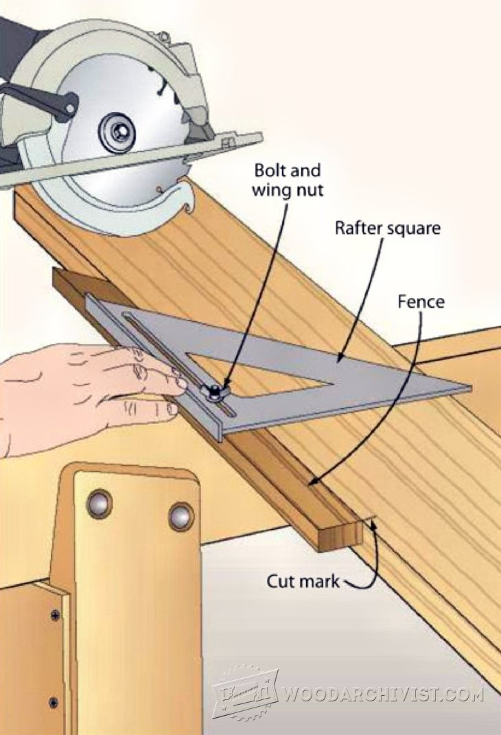 1538 rafter square saw guide woodarchivist for Woodworking guide