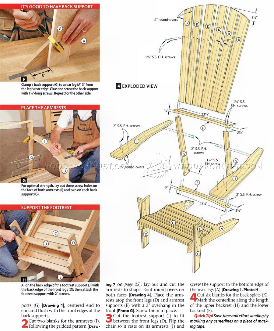#1549 Adirondack Chair Plans • WoodArchivist