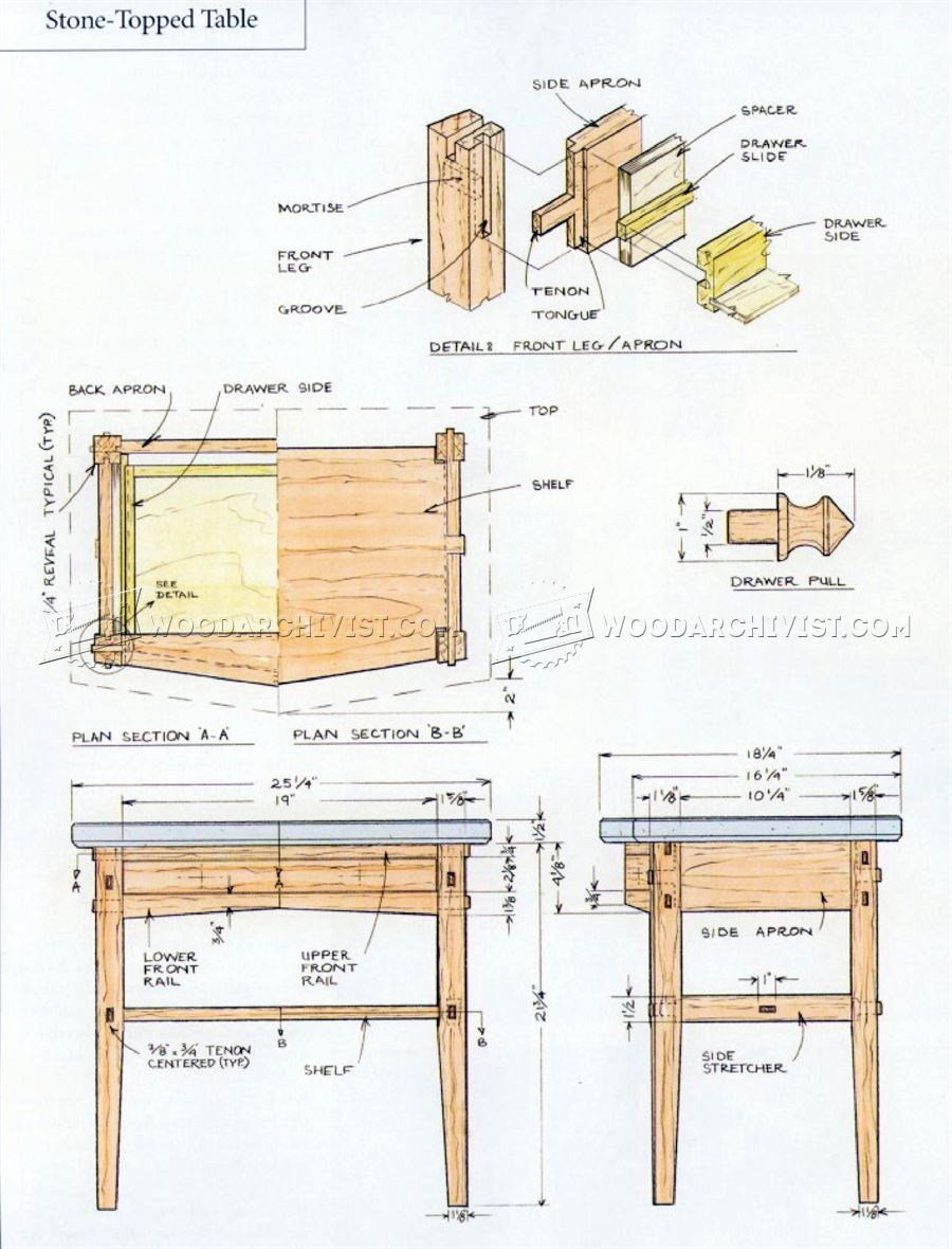 Stone topped nightstand plans woodarchivist for Free nightstand woodworking plans