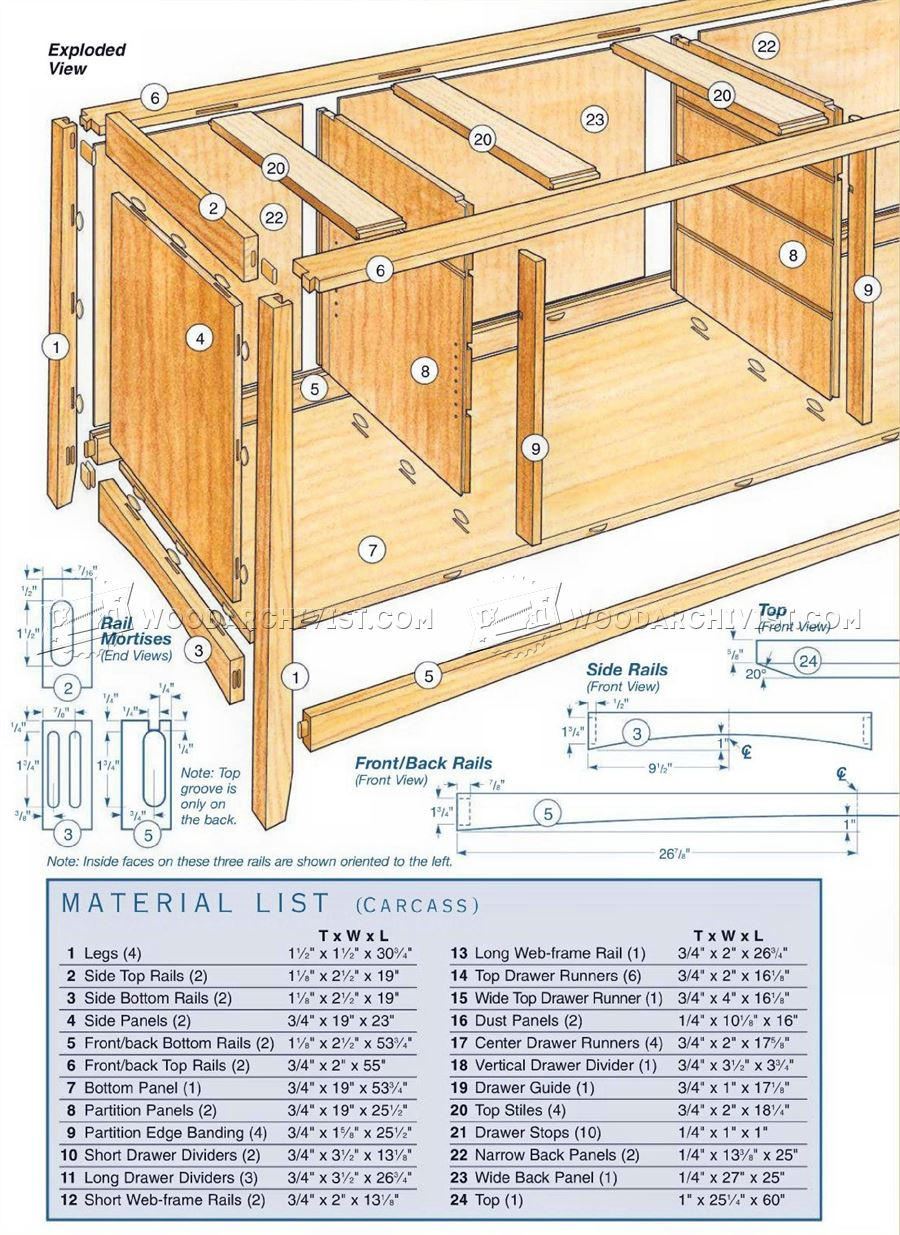 Cherry sideboard plans woodarchivist for Furniture plans