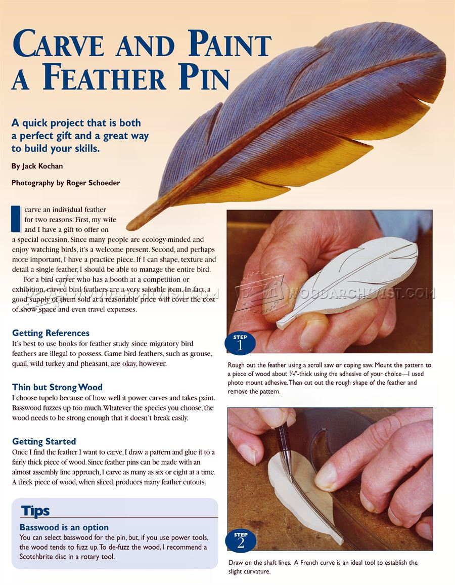 Carving Bird Feathers in Wood