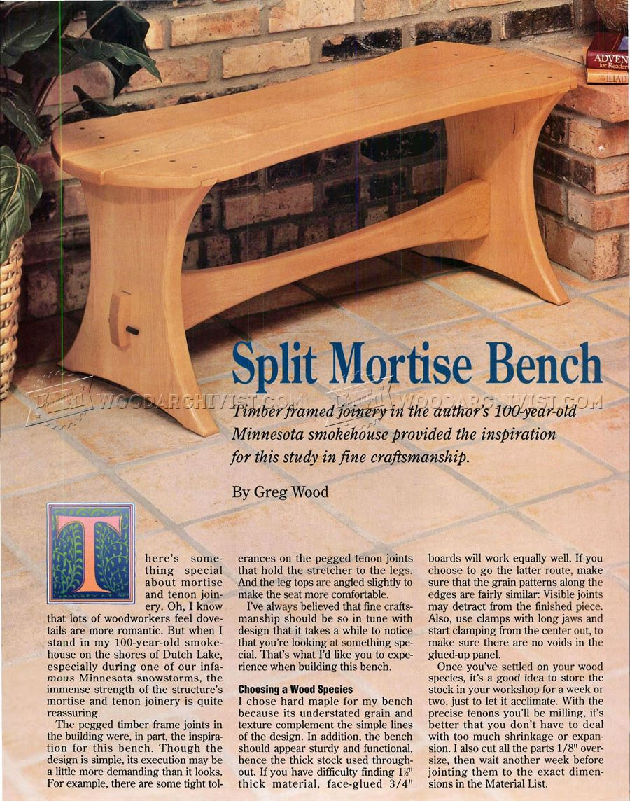 Split Mortise Bench Plans