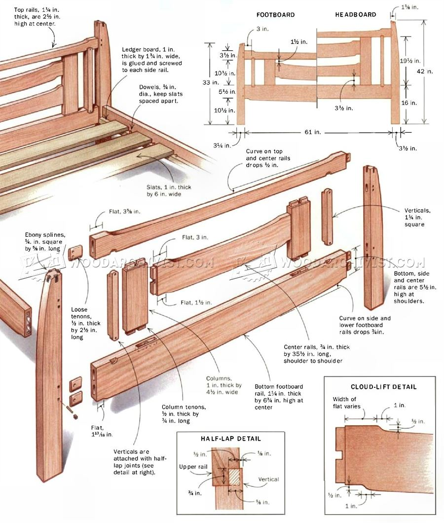 Arts and crafts bed plans woodarchivist for Arts and crafts bed plans