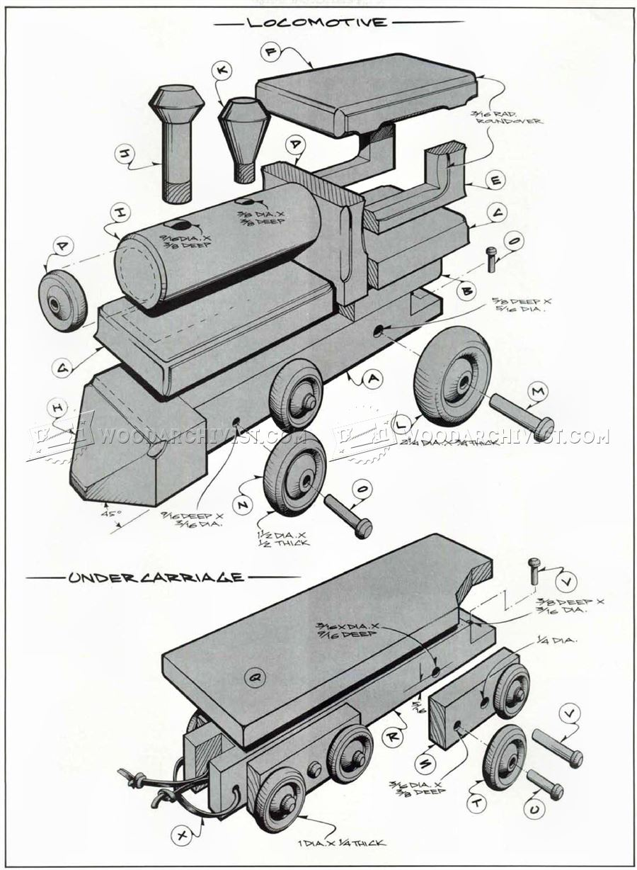 1641 Wooden Toy Train Plans - Wooden Toy Plans