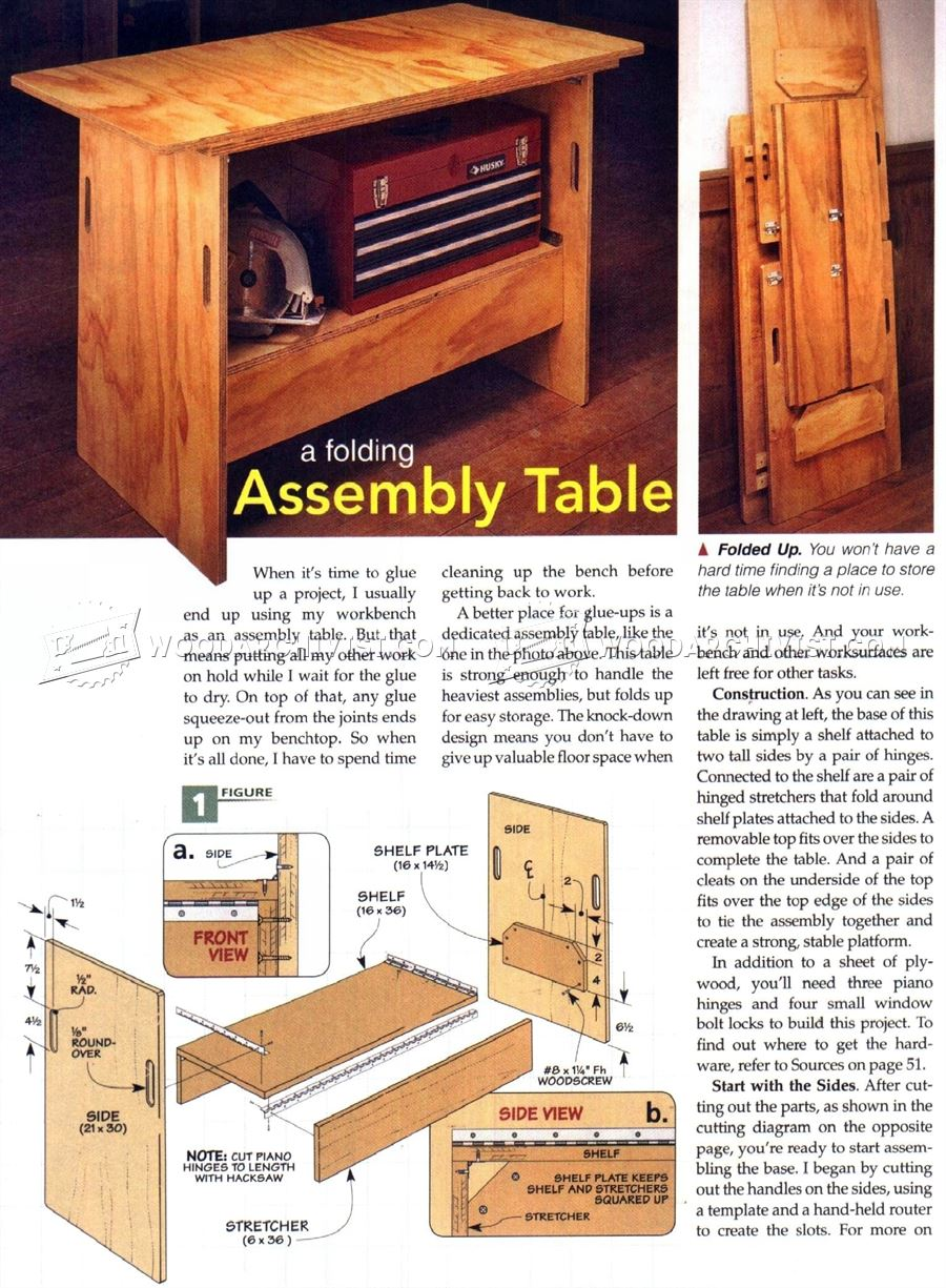 #1653 Folding Assembly Table Plans