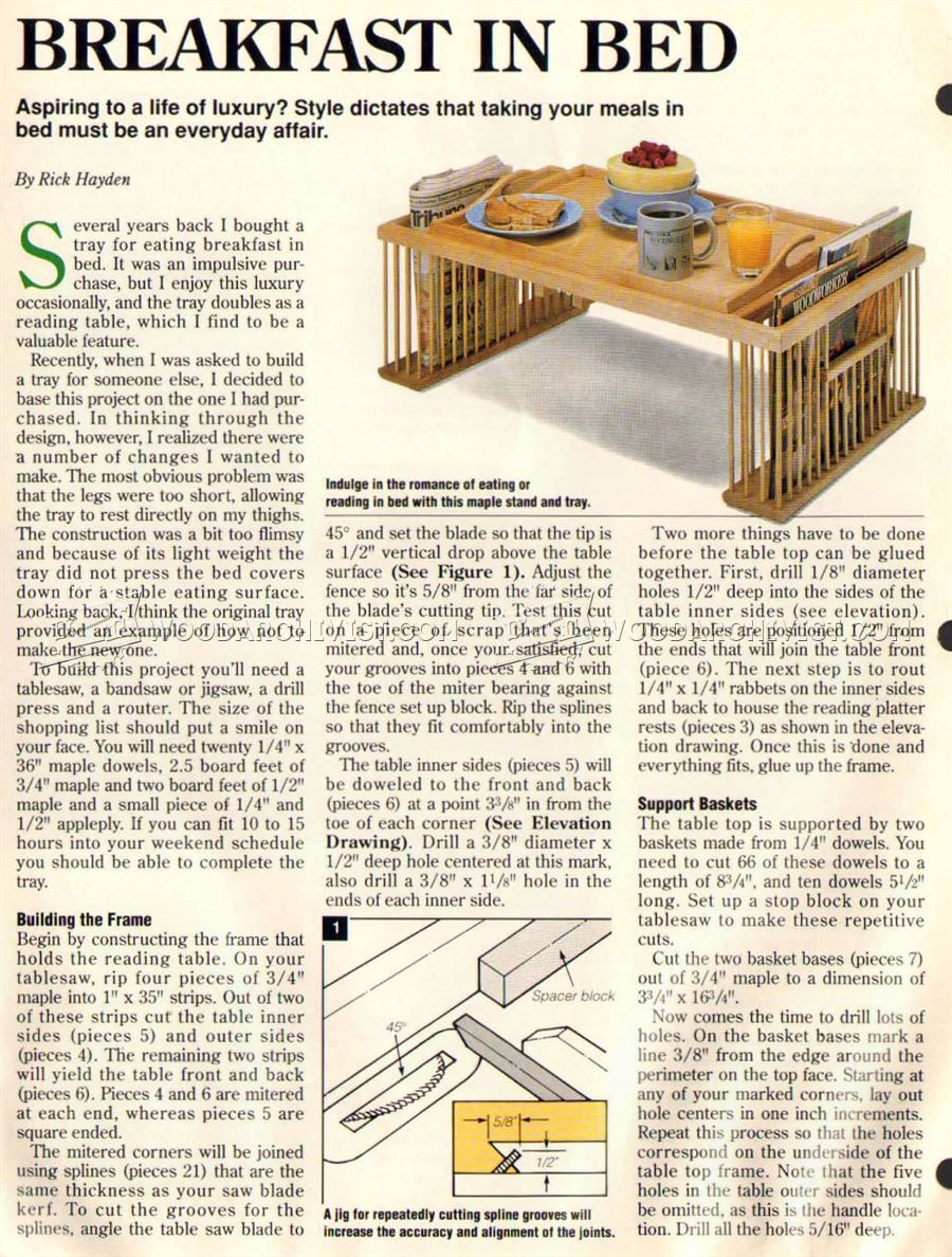 Bed Tray Plans