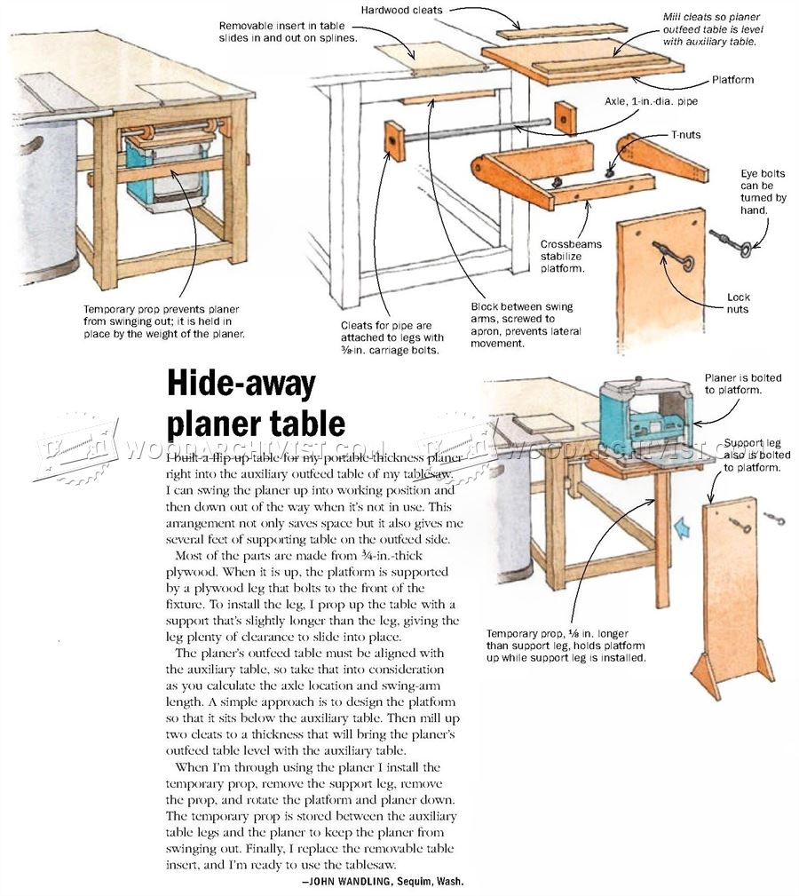 Hide-Away Planer Table