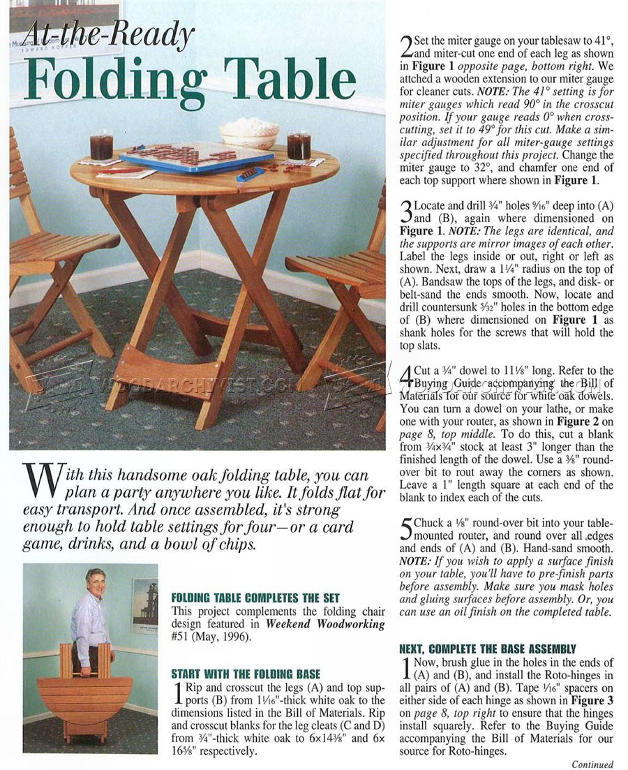 1749 Folding Table Plans - Furniture Plans