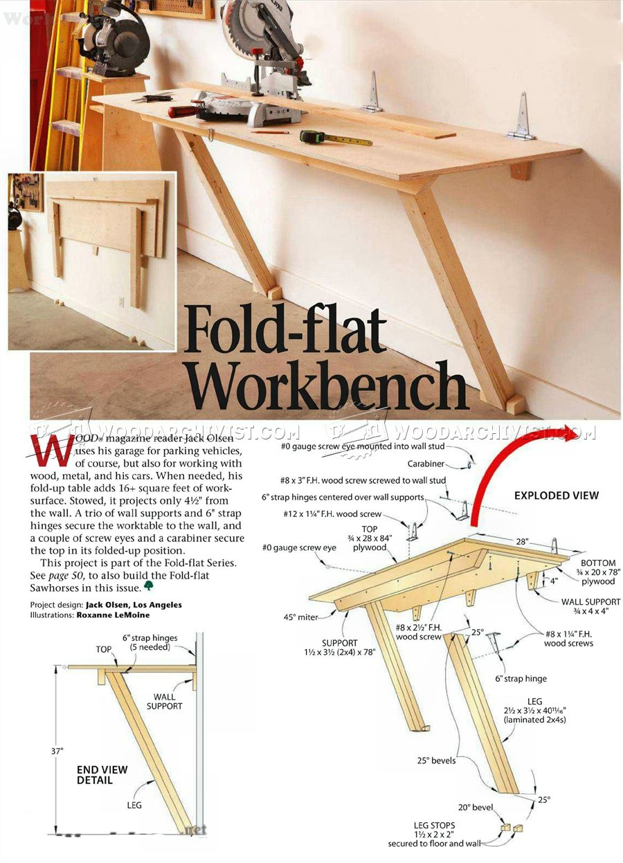 1788 Fold Down Workbench Plans WoodArchivist