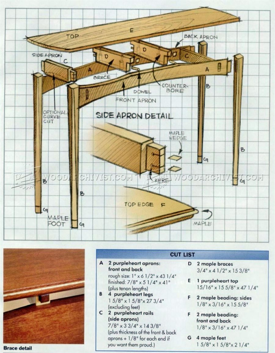 Brilliant  Woodworker39s Journal Plans  Chippendale Sofa Table Downloadable Plan
