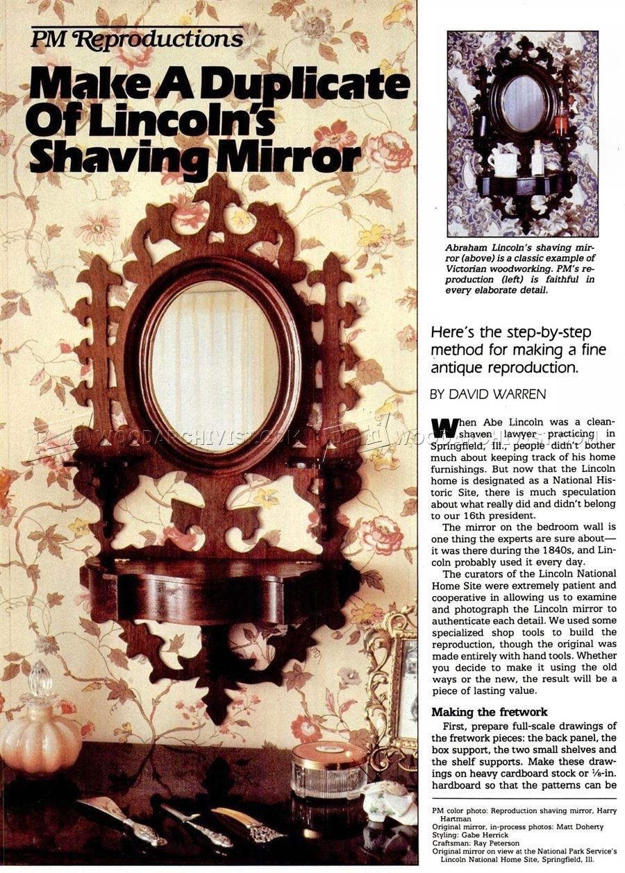 #1793 Lincolns Shaving Wirror Plans