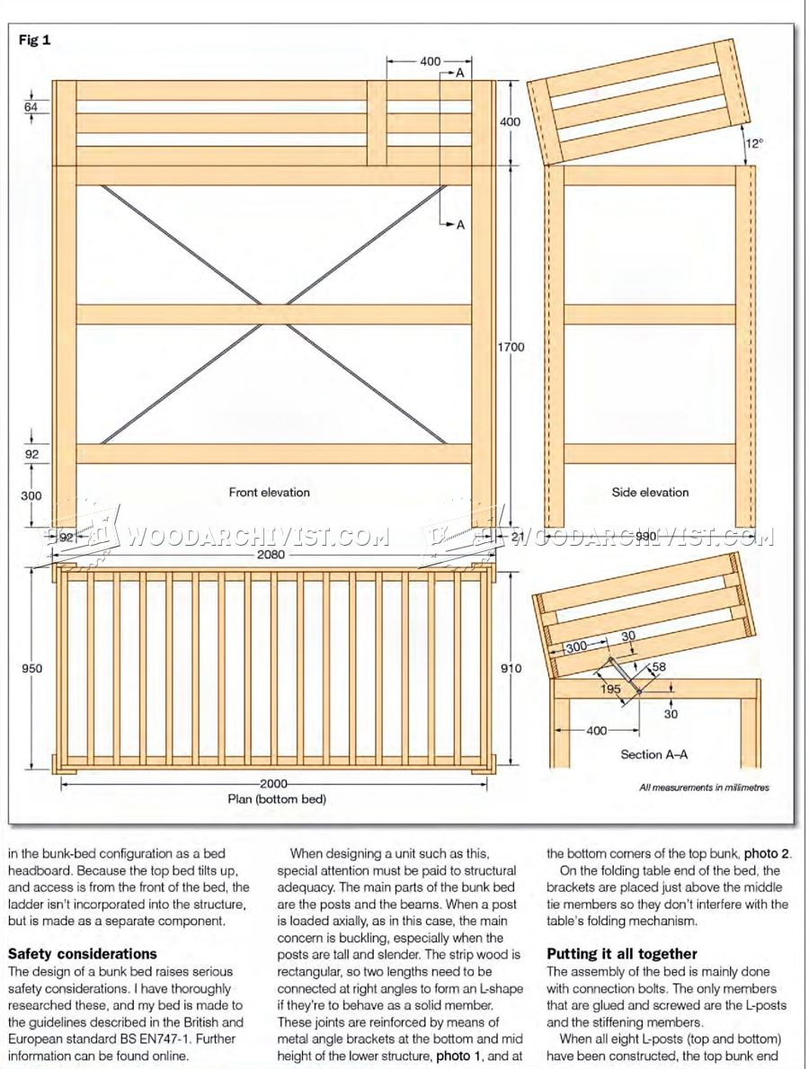 Convertible Bunk Bed Plans Woodarchivist