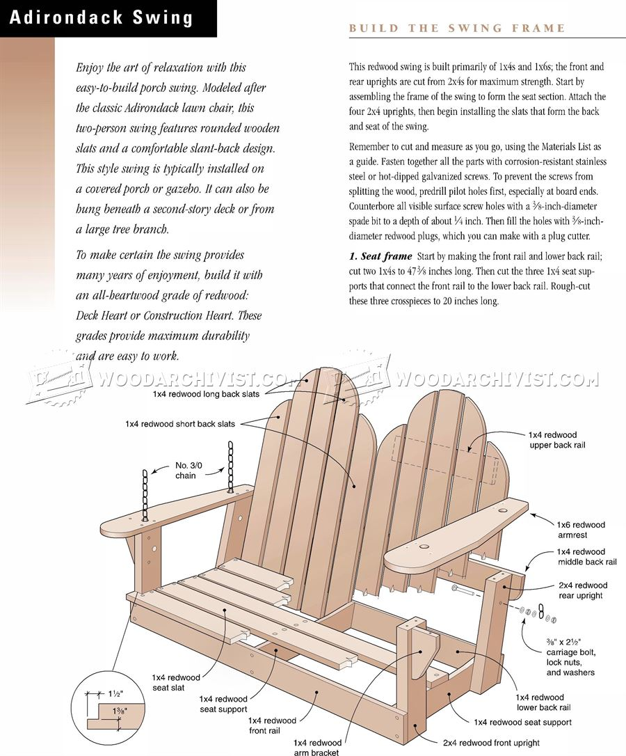 adirondack swing plans woodarchivist