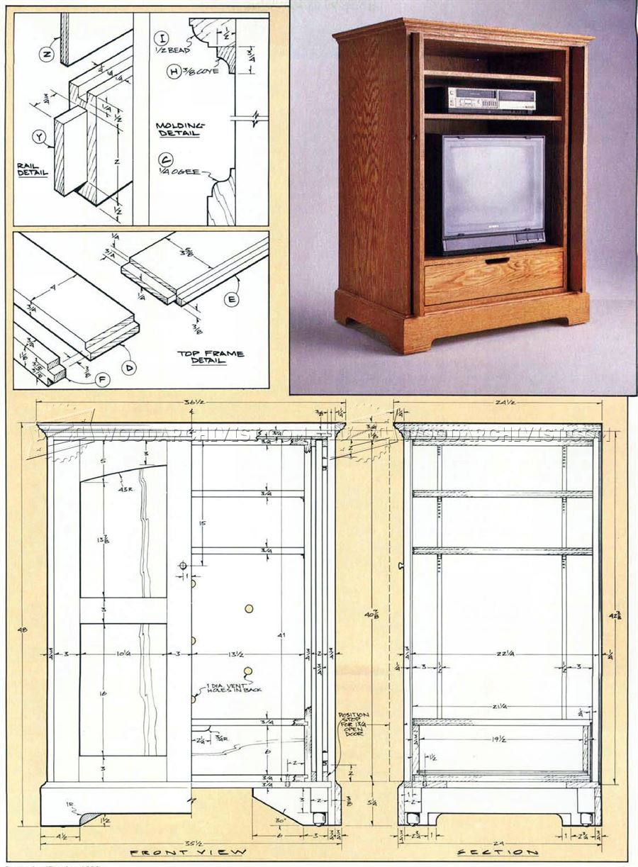 Tv cabinet plans woodarchivist for Tv cabinet plans