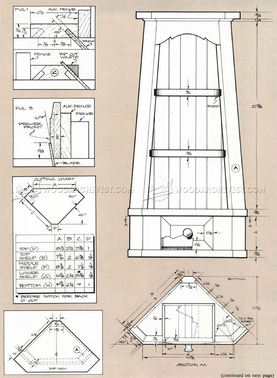 Blueprints For A Modern Four Bedroom Home: Corner Cupboard Plans • WoodArchivist