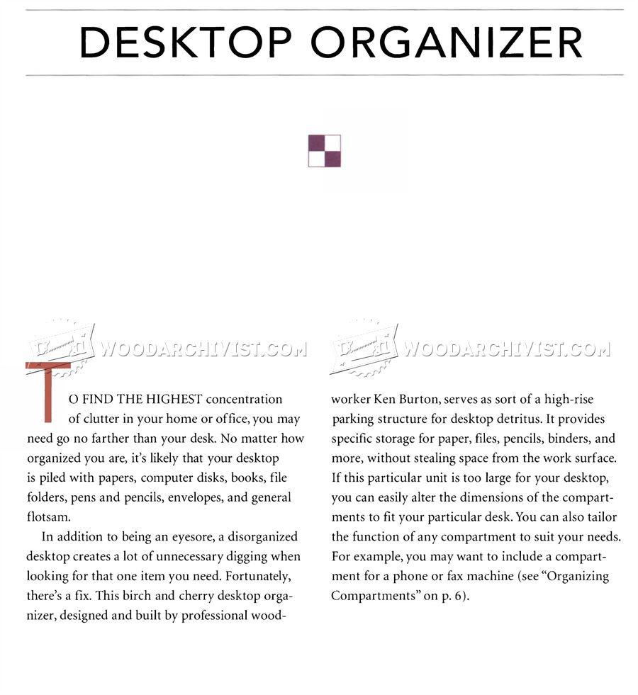 Desktop Organizer Plans