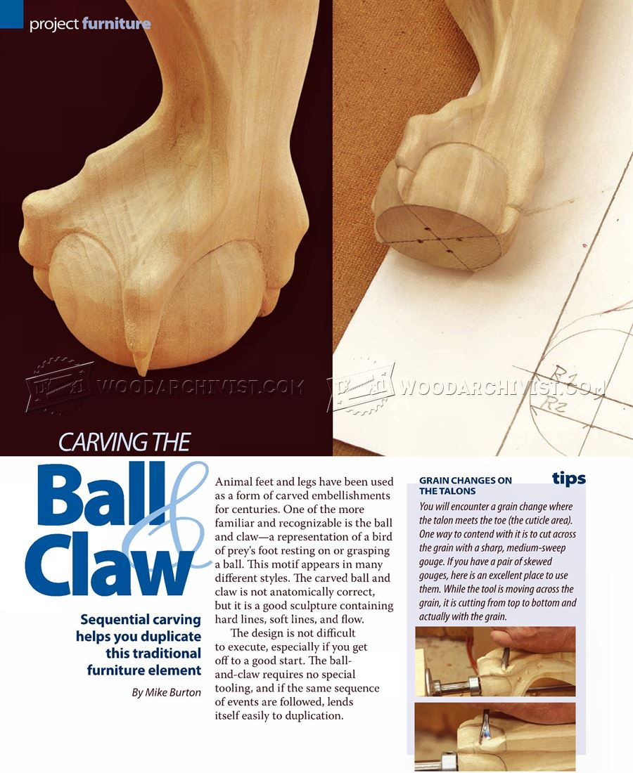 #1834 Carving Ball and Claw Foot