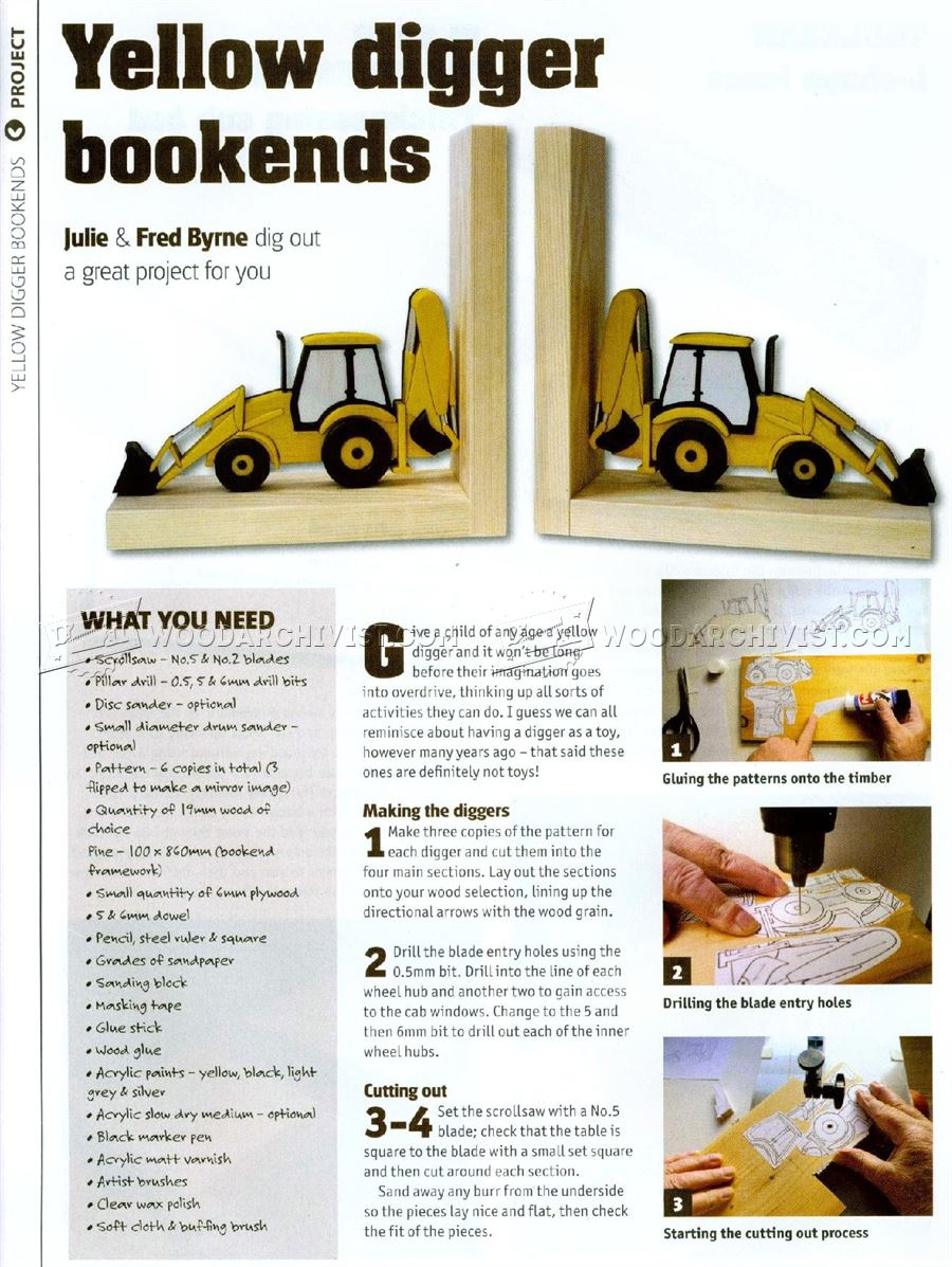 Yellow Digger Bookends Plans