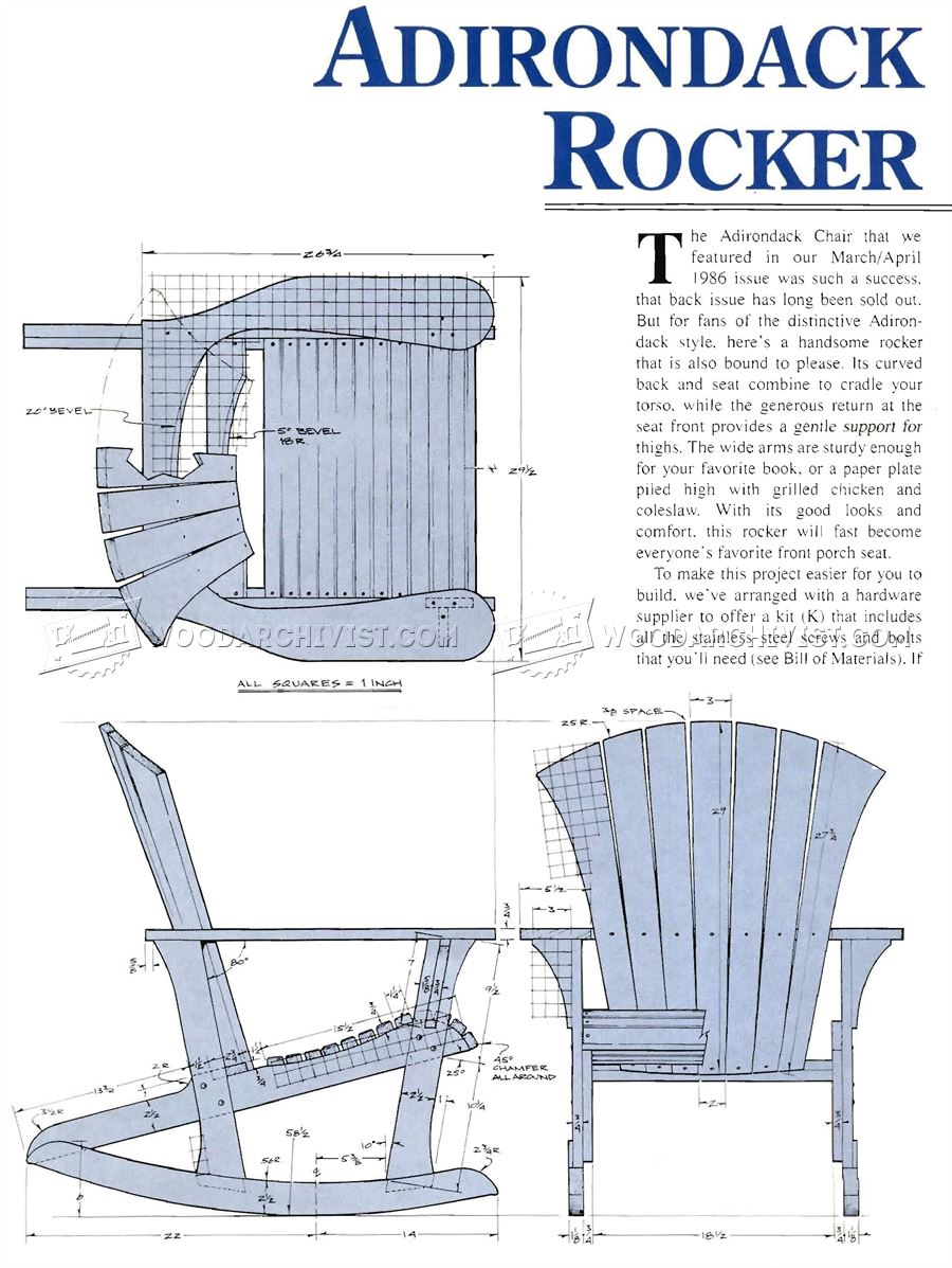 Adirondack Rocking Chair Plans  U2022 Woodarchivist