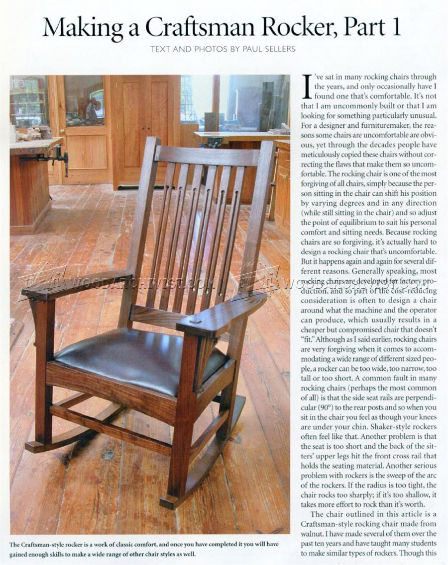 1861 craftsman rocking chair plans woodarchivist for Craftsman furniture plans