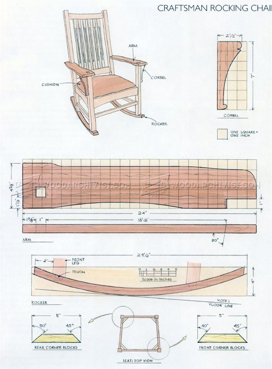 #1861 Craftsman Rocking Chair Plans • WoodArchivist