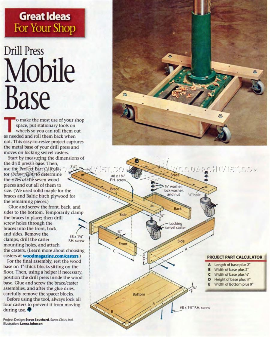 #1862 Drill Press Mobile Base Plans